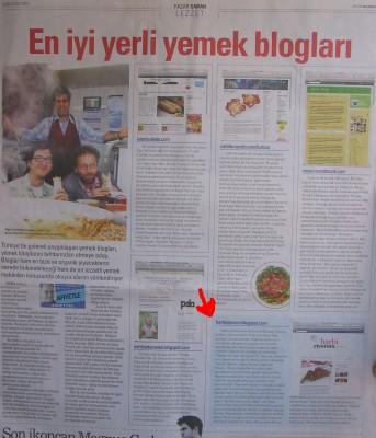 Harbiyiyorum.com En İyi Yemek Blogları Arasında - Ahmet Örs / SABAH 2010